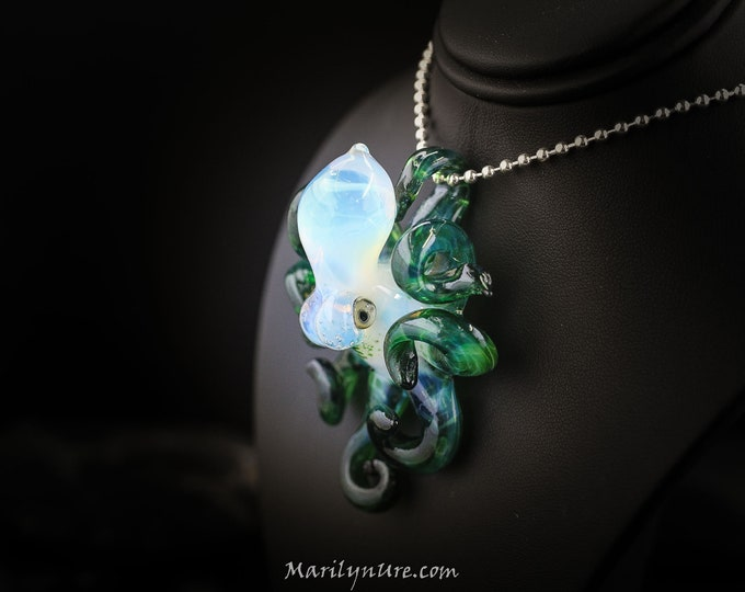The Green Meanie Kracken Collectible Wearable  Boro Glass Octopus Necklace / Sculpture - Ready to Ship