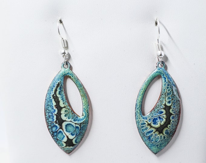 "Crackle Enamel 1.5"" Funky Hippie Blues earrings"