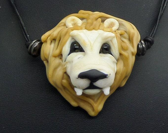Italian Glass Handmade Lampwork Lion Heart Bead Necklace