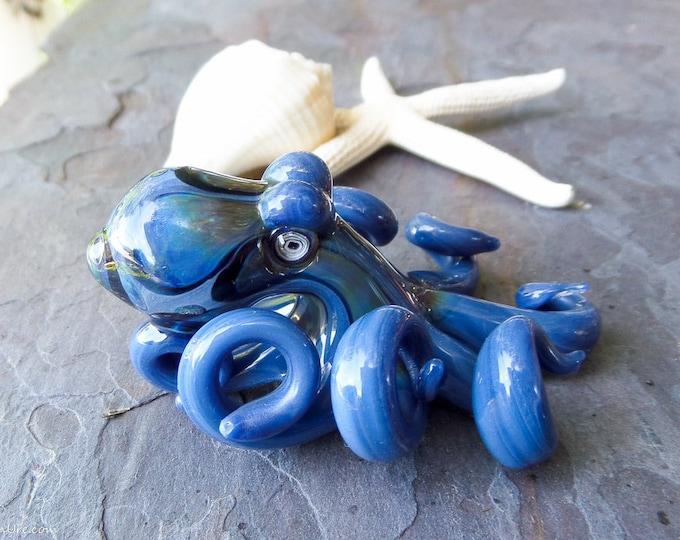 The Cody Blue Kraken Collectible Wearable  Boro Glass Octopus Necklace / Sculpture