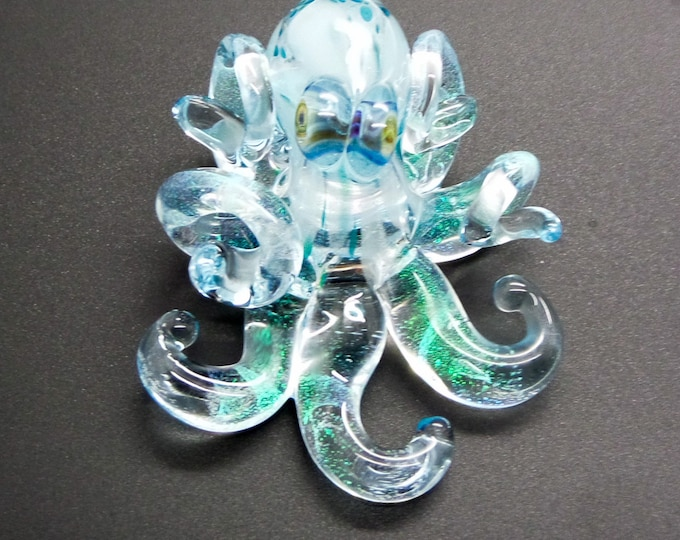 The Blue Rein Kracken Collectible Wearable  Boro Glass Octopus Necklace / Sculpture Made to Order