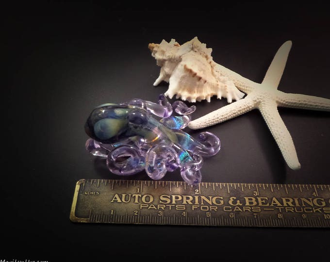 The Dichroic Purple Kracken Collectible Wearable  Boro Glass Octopus Necklace / Sculpture