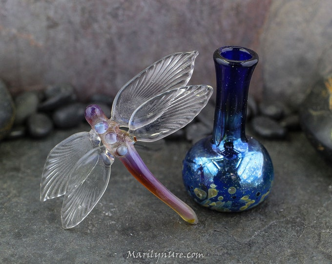 Handmade Silvery Winged Dragonfly Essential Oil Bottle