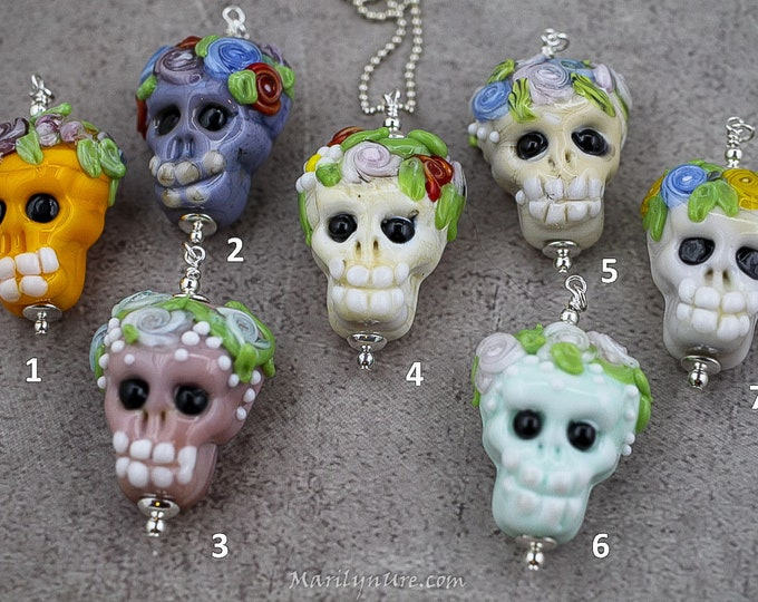 Glass Sugar Skulls Handmade Bead Necklace