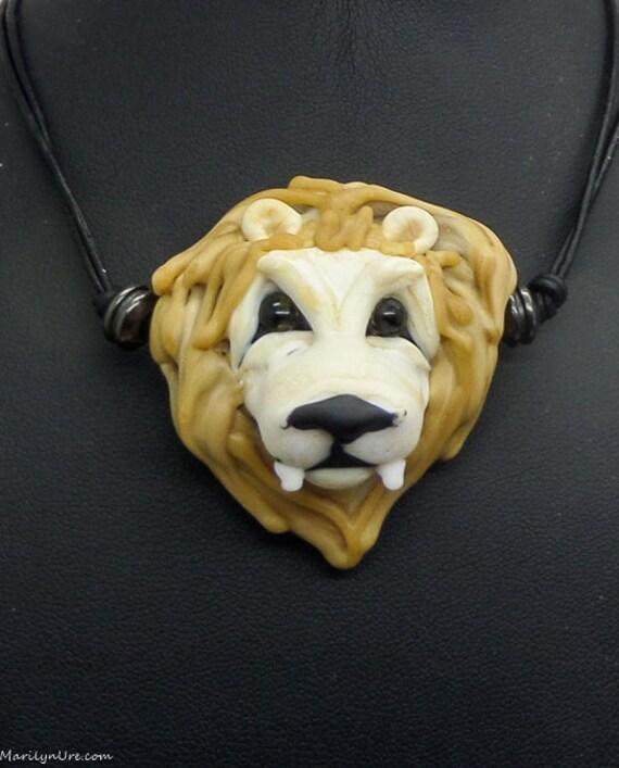 Italian Glass Handmade Lampwork Lion Heart Bead Necklace The Little Lion