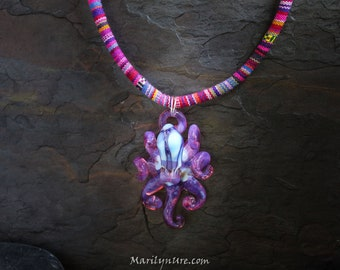 The Pink Tribal Kraken Collectible Wearable  Boro Glass Octopus Necklace