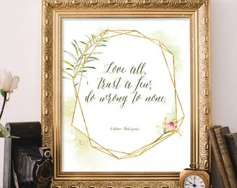 """Shakespeare Quote,  Literary Quote, Romantic Quote, Book Quote, Wall Art, Mid Century, Trendy Print, Typography Print, Love Quote, """"Print"""""""