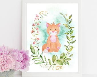 "Watercolor Cat, wall art quote, kids room, nursery wall art,  quote print, quote art, inspirational quote, Typography, Quote, ""Print"""