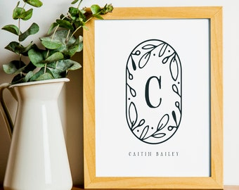 """Floral Monogram Print, wall art quotes, scripture, nursery wall art, quote print, quote art, inspirational quote, Typography, Quote, """"Print"""""""