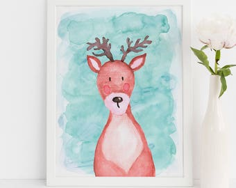 "Watercolor deer, wall art quote, kids room, nursery wall art,  quote print, quote art, inspirational quote, Typography, Quote, ""Print"""