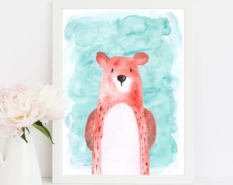 "Watercolor Bear, wall art quote, kids room, nursery wall art,  quote print, quote art, inspirational quote, Typography, Quote, ""Print"""
