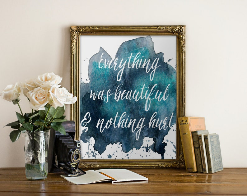 Literature Quote  Print Watercolor Book Quote Typography image 0