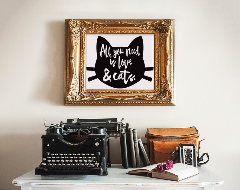 Love and Cats print wall art quotes quotes poster poster image 0