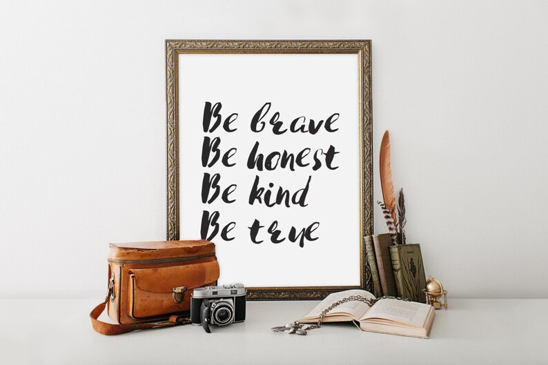 Be Brave Print wall art quote scripture nursery wall art image 0