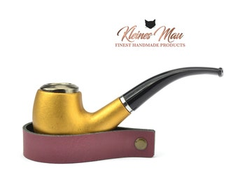 """Genuine leather pipe stand """"Burgundy"""" pipe holder"""