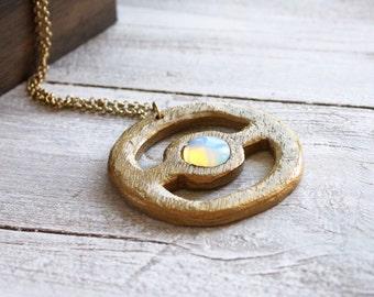 Dainty gold necklace simple crystal minimalist jewelry - geometric pendant