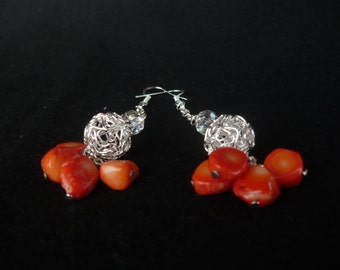 Orange stones earrings with silver machined ball