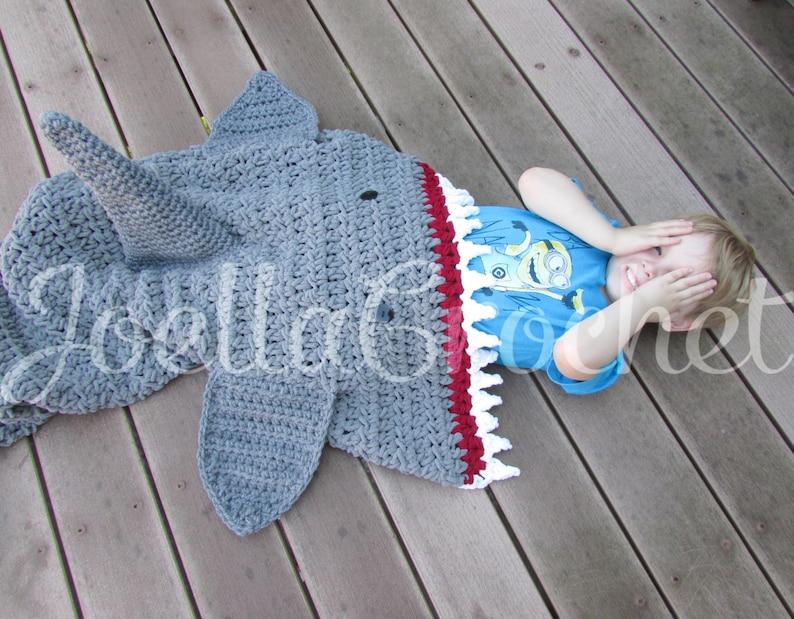 Shark Blanket Throw blanket Toddler Shark Attack Blanket Child Teen and Adult Size Sharks Afghan Crochet Shark JoellaCrochet