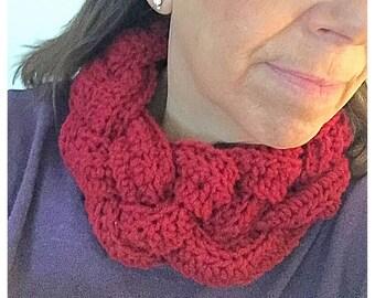 Crochet Buttoned Braided Cowl Neck Warmer