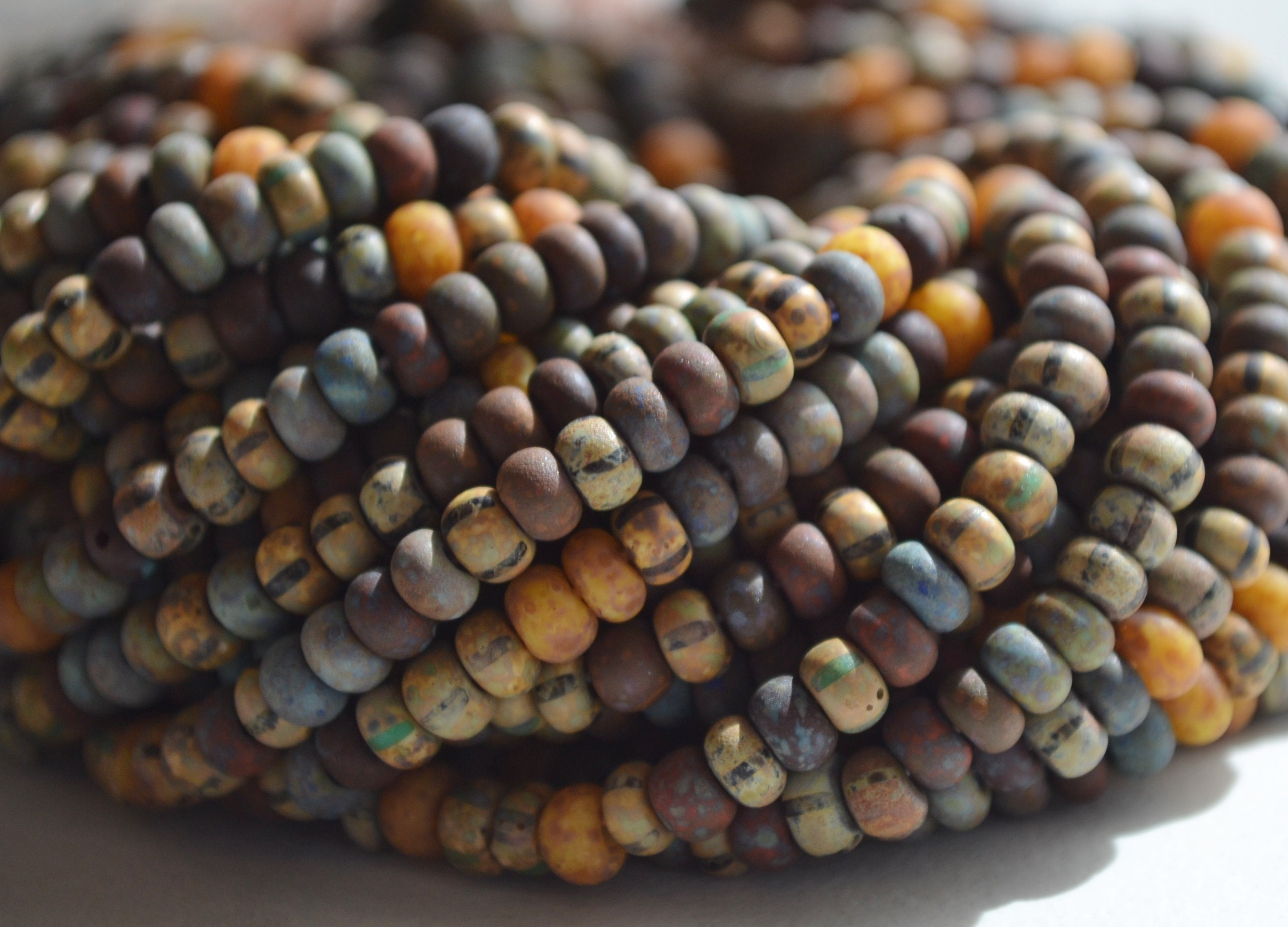 Blue and Beige Striped Picasso 40 Seed Bead Mix Aged Turquoise 1 Strand Item SB296