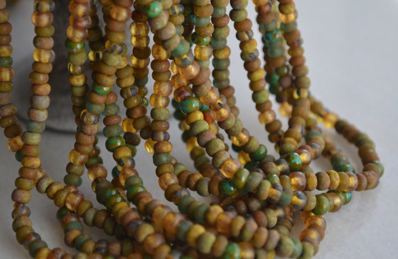 50 Aged Rustic Thin Ice Czech Picasso Seed Bead Mix 20 Strand 7-SB