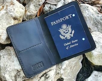 Handcrafted Passport Cover/Wallet in Matte Black