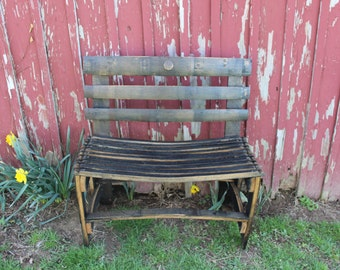 Bourbon whiskey barrel bench repurposed & Whiskey barrel chair | Etsy