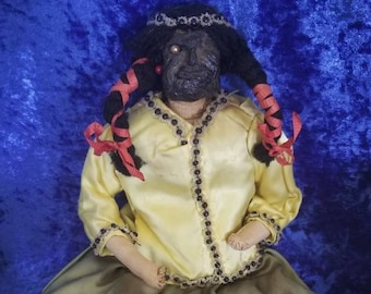 Nice Vntg Pr Of Folk Art Dried Apple Head Dolls Original Cothing Glass Eyes Primitive Dolls & Bears