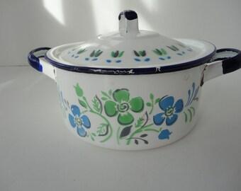 Enamelware Pot Blue color White Polka dot Made in Serbia 7.5 L