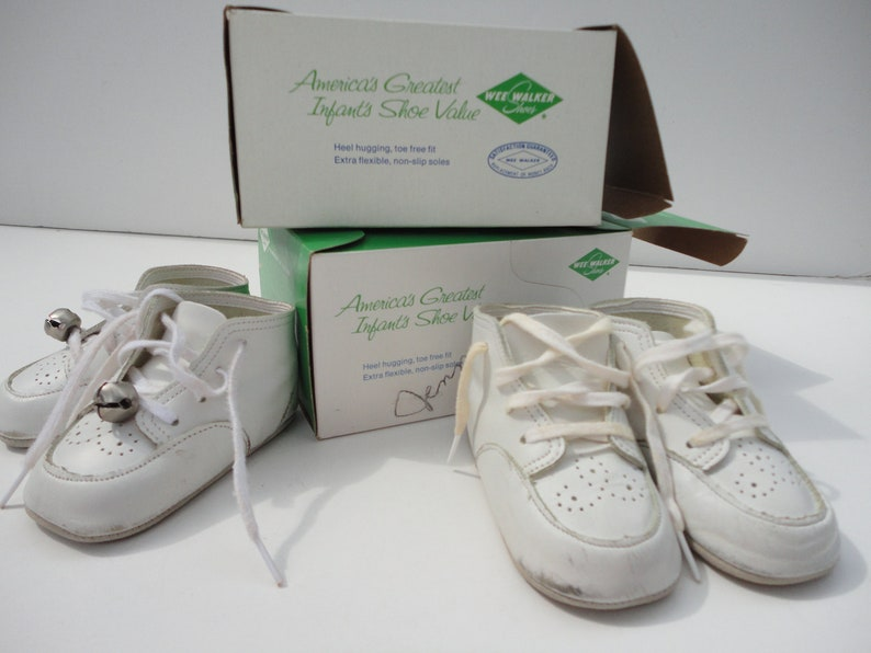 bf1ace47d56d3 Vintage leather baby shoes with original shoe boxes, Soft Sole Wee Walker  size 1 size 2, infant shoes, crafting supply