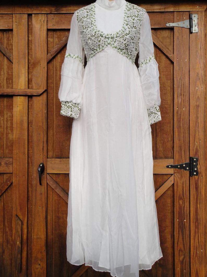 9b2c255874a Vintage 70s wedding gown bishop sleeve chiffon high collar