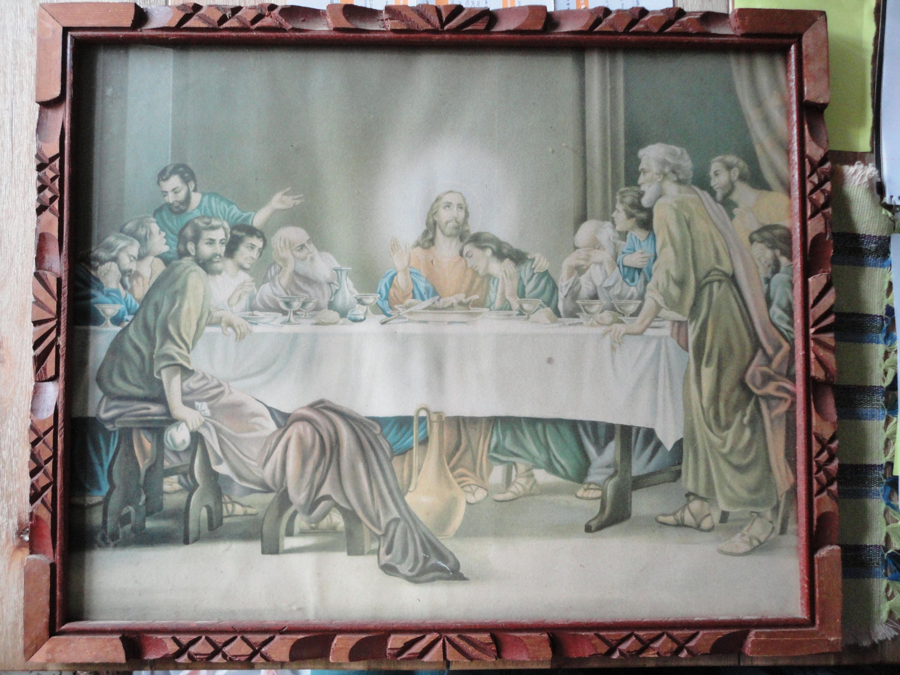 Large vintage rustic carved wood frame, antique Last Supper Print ...