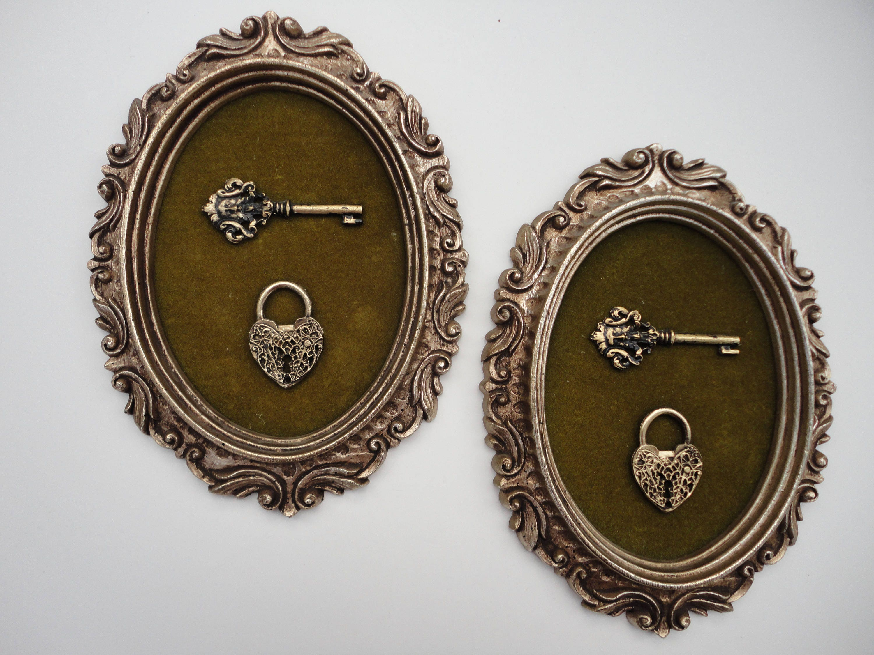 Gold oval frame, pair two matching frames, Burwood, small medium ...