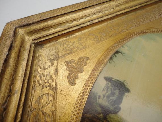 Vintage Florentine wall hanging, diamond shape wood gold frame ...