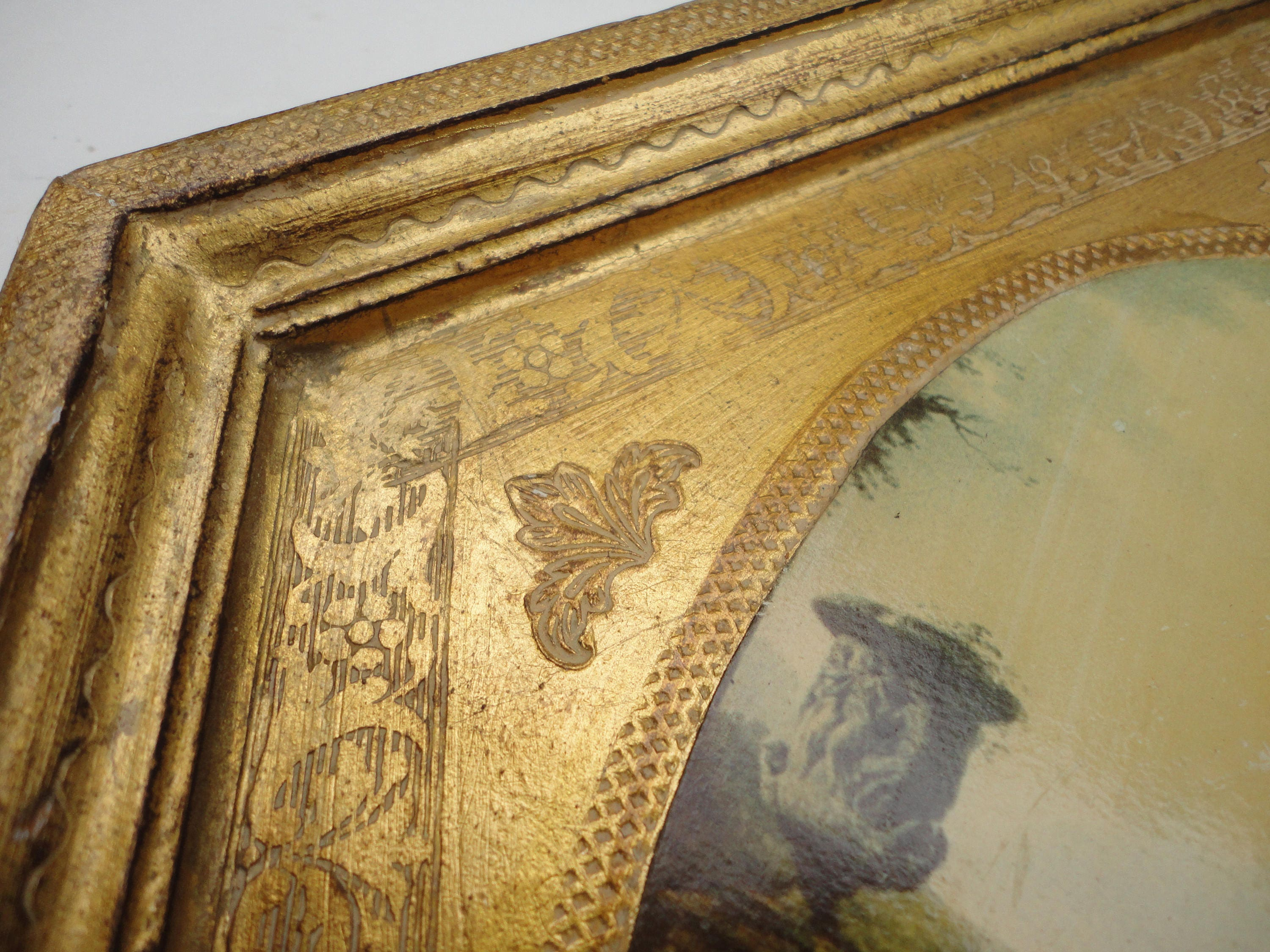 Vintage Florentine wall hanging, diamond shape wood gold frame ...