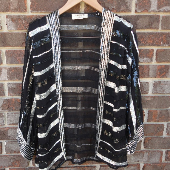 Black sequin loose evening jacket, 1920's style, s