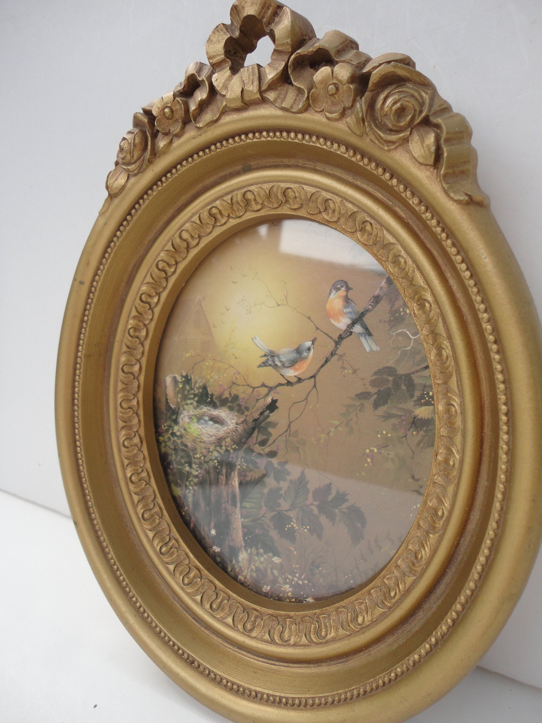 Antique oval frame ornate Vintage Floral 50 Etsy Small Vintage Gold Oval Frame With Ribbons And Roses Ornate Etsy