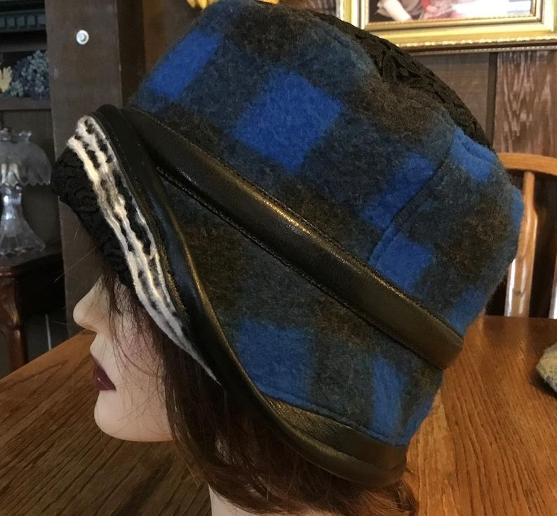 Winter Alopecia Chemo Hats Upcycled Blue Black Buffalo Fleece Hat Downton Abby ButtonInTheBackHats SIZE M 22\u201d- L 22 78\u201d Circumference