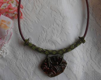 Peyote Stitch, Raku Pendant, Necklace, Seed Bead Jewelry, String Necklace, Olive Green Jewelry, Mauve Jewelry, Pendant Necklace, Boho