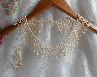 Ivory Victorian Bridal Necklace Set, Ivory Lace Collar, Seed Bead Netted Necklace, Ivory Seed Bead Jewelry, Beaded Lace Collar, Bridal Set