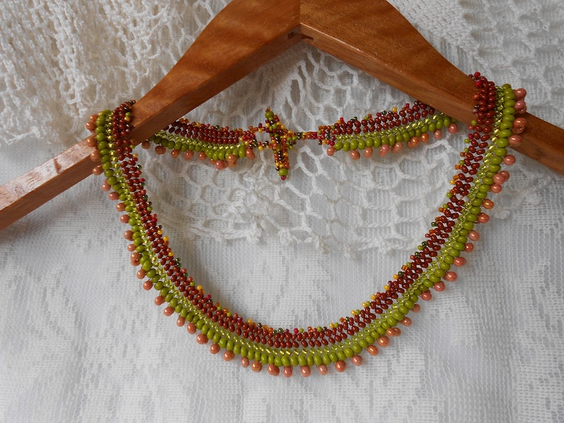 Autumn Herringbone Necklace, Bracelet, Set, Terra Cotta, Olive Green, Multi  Browns, Seed Bead Jewelry, Seed Bead Multi Color Choker, Set