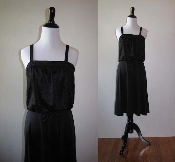Vintage 1970s Black Tank Dress | Summer Dress | Wo