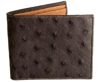 Ostrich Wallet → Genuine Ostrich Leather → Brown & Tan Ostrich Skin Wallet
