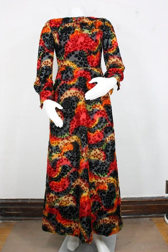 vintage velvet chiffon maxi dress XS