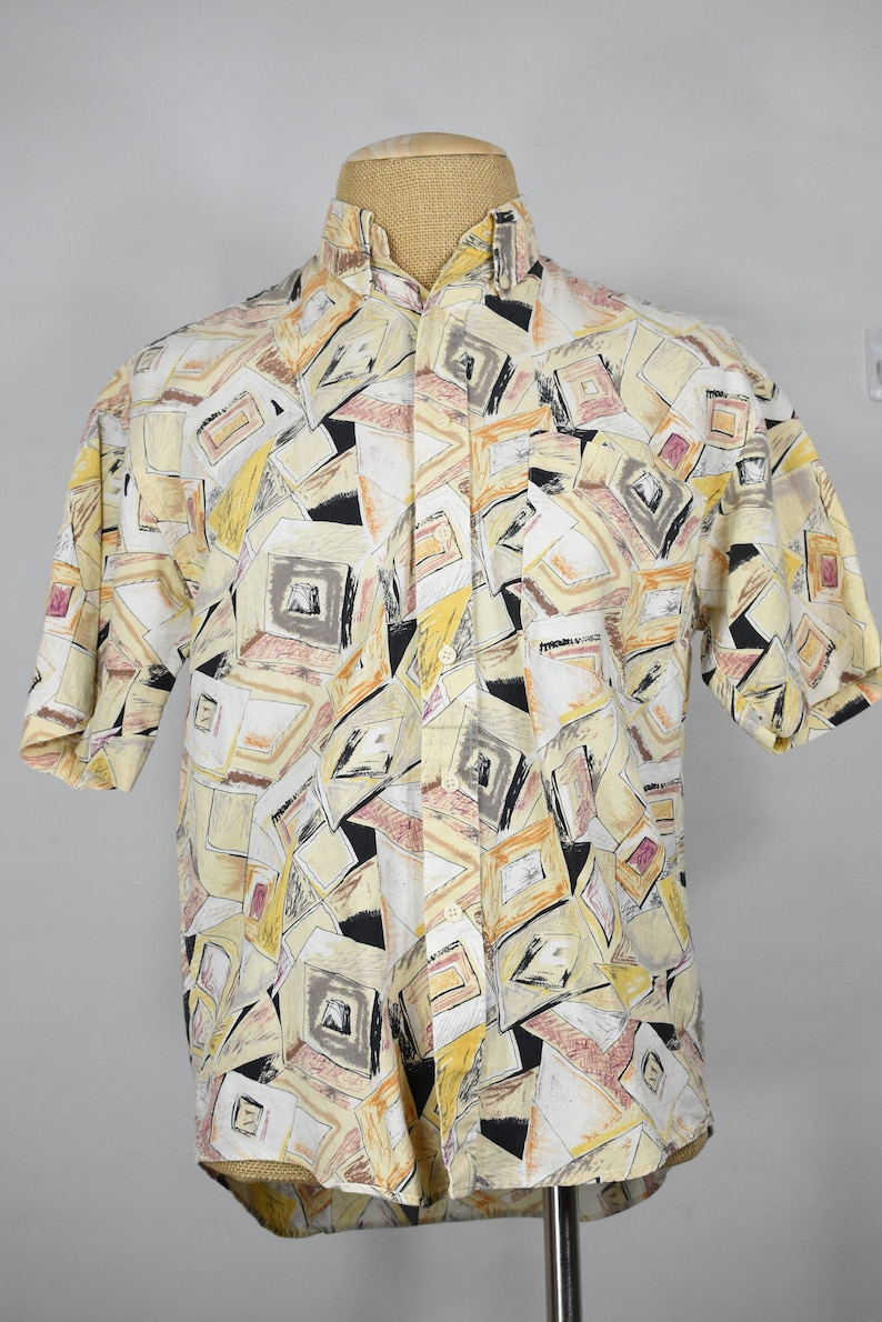 vintage Courreges Homme shirt M 80/'s 90/'s short sleeve abstract hawaiian linen