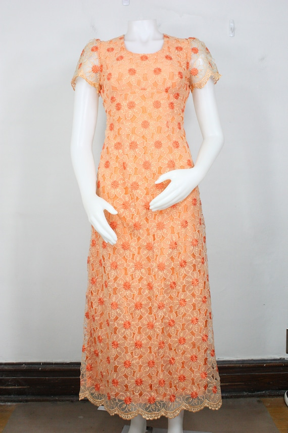 vintage floral chiffon empire waist maxi dress XS