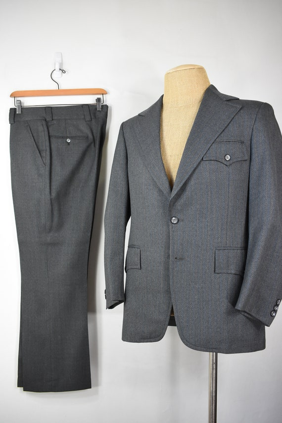 vintage 60's wool suit 40 S 33 x 29 half belt back