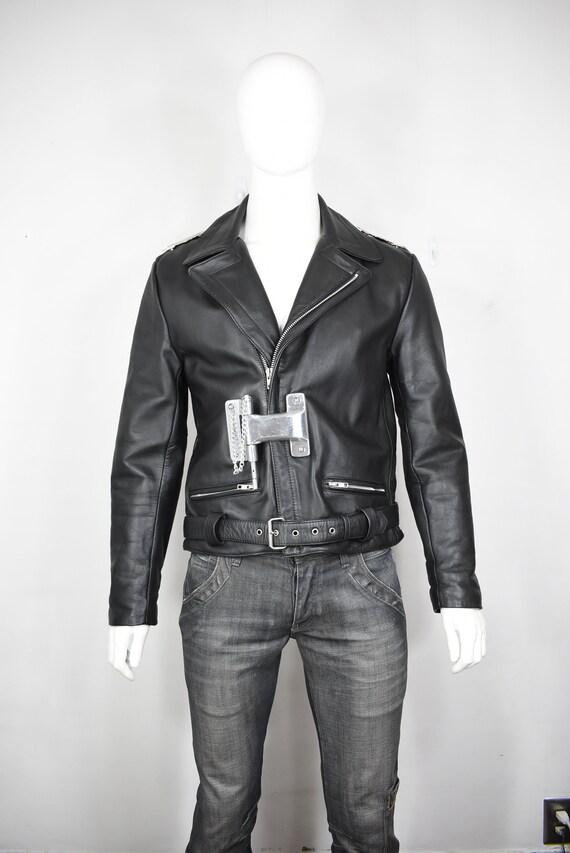 vintage leather motorcycle jacket 42 90's industri