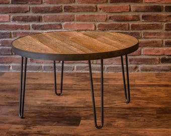 Reclaimed Wood Table with Hairpin Table Legs - Custom Table - Coffee Table - Dining Table - Kitchen Table - Round Table