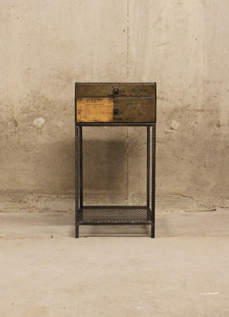 Industrial End Table   Side Table   Nightstand   Bedside Table   Vintage  Furniture   Industrial Decor